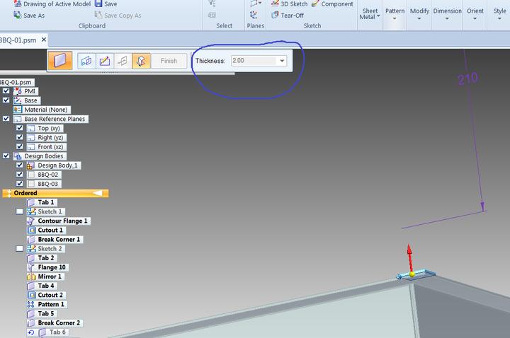 Sheet Metal Thickness Multibody Design Inquiry